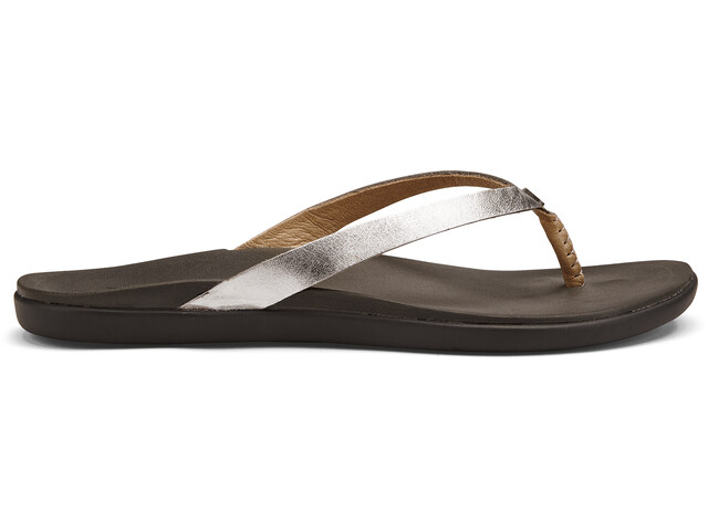 OluKai Ho'opio Leather Sandals Dame silver/charcoal